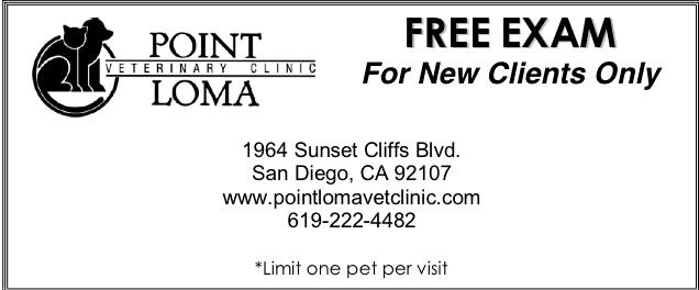 Point Loma Veterinary Clinic - Free Exam Offer - Free exam for new clients